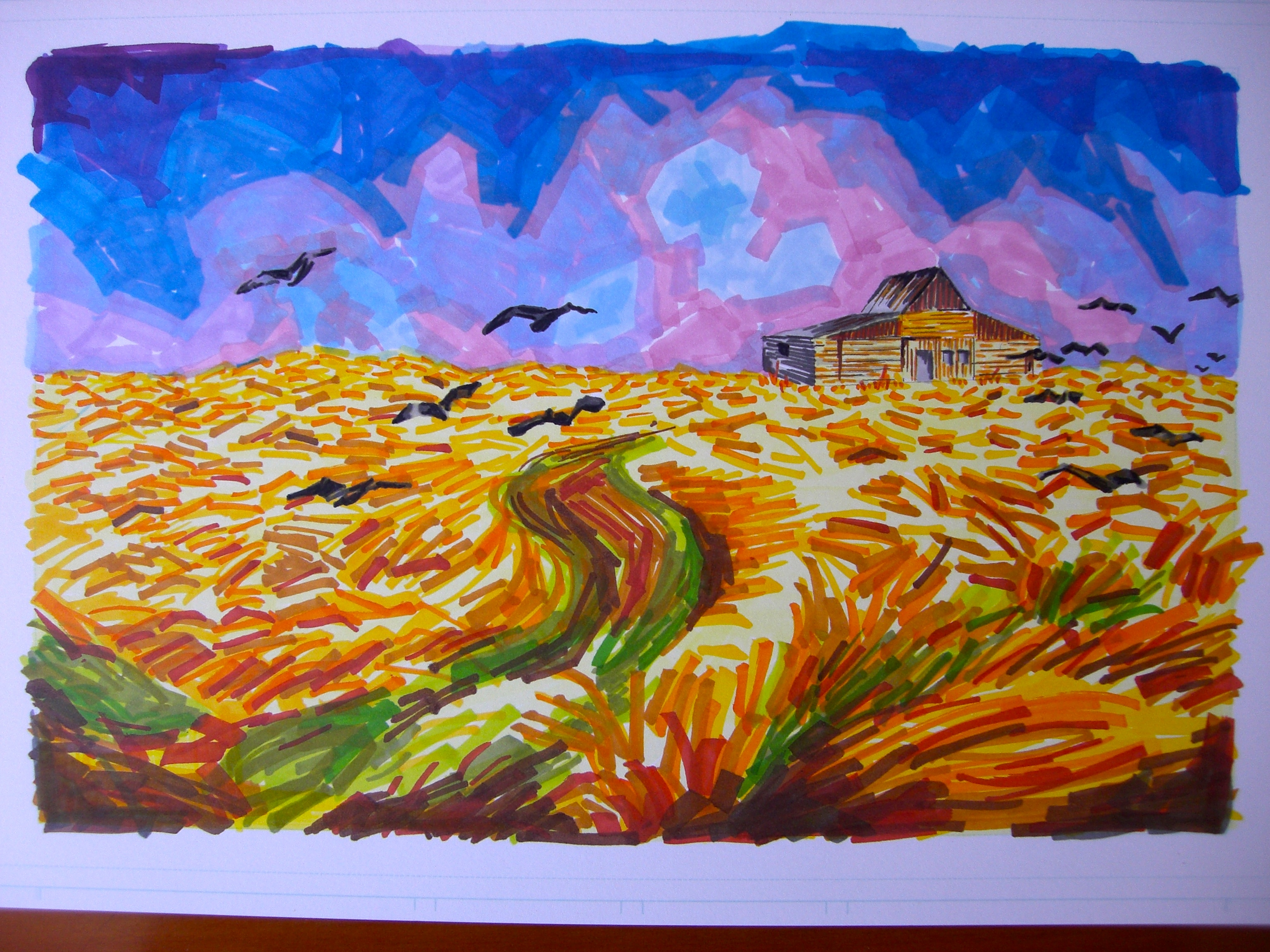 How Vincent would paint Elsbeth's cabin in the wheat field if he had magic markers
